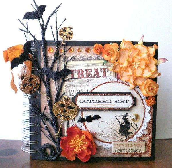 Halloween October 31 Chipboard Mini Album - Two Peas in a Bucket Combine chipbd albums from Michael's to add more pages or different shapes.