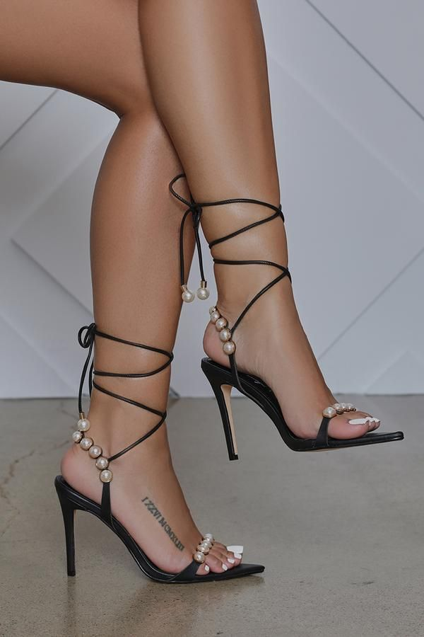 Rainey Pearl Embellished Lace Up Heel