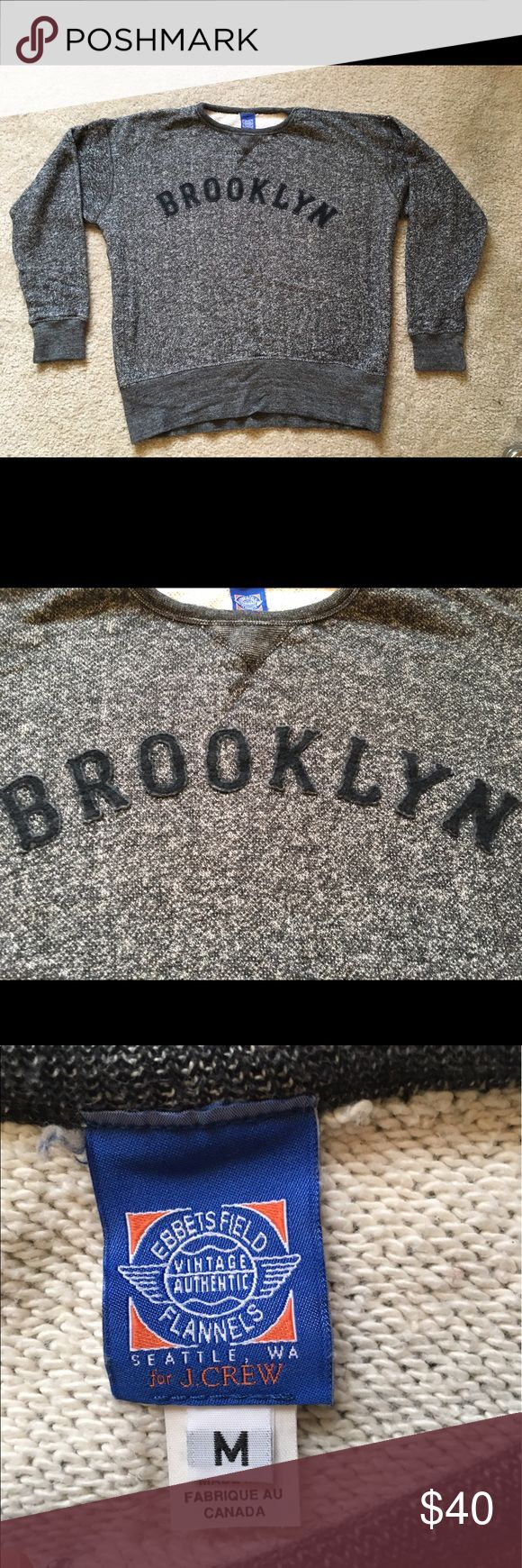 JCrew Ebbets Field Brooklyn Eagles Sweatshirt JCrew Men's item #e6997. Special edition. Ebbets Field Flannels brand (third party brand for JCrew) known for its faithful reproductions of vintage sports paraphernalia--each team logo is carefully researched and authenticated, to ensure historical accuracy. Runs large. Cotton. Machine wash. Made in the US. Extra-soft French terry cotton and wider rib trim at the waist and sleeves. It commemorated the Brooklyn Eagles, a short-lived baseball team…