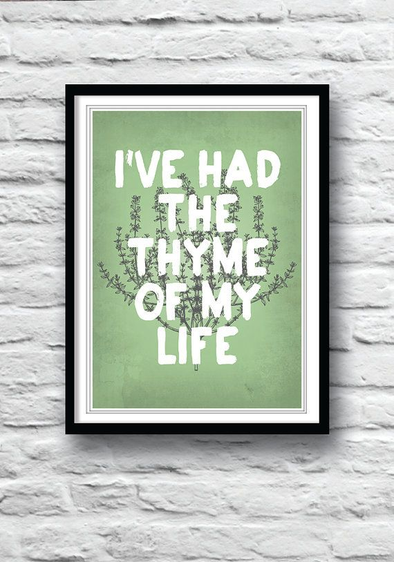 Kitchen art, Dirty Dancing, movie poster, wall decor, kitchen poster, art print, illustration, kitchen herbs !
