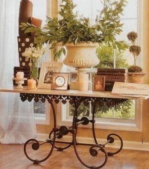 French Table De Boucher Vignette Urns U0026 Topiaries For Powder Room