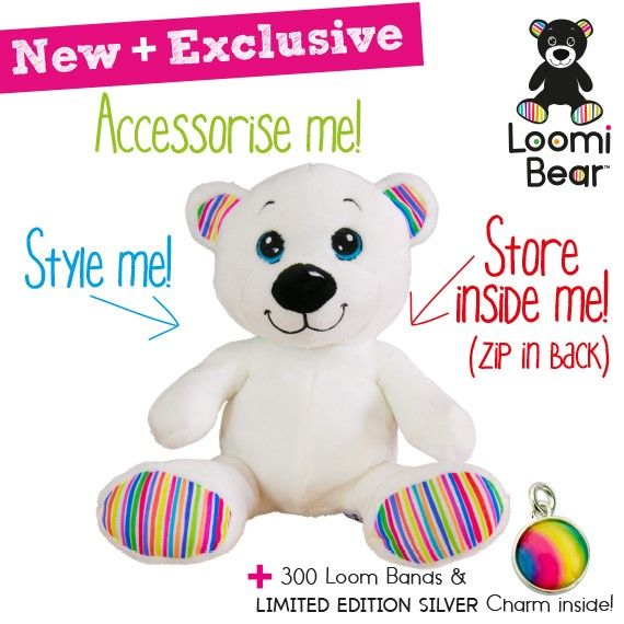Meet Loomi Bear.  Perfect to store and wear your favourite Rainbow Loom bracelets.  Take me home!