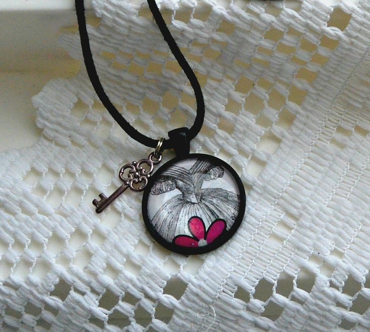 Pendant, Choice of Five, Victorian Artwork, Pink Details, and Charm, Key or Tear Drop by littlestarbigstar on Etsy