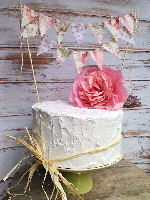 Cake Bunting Vintage Peony and Rose Patterns Romantic sweet cake topper on Etsy, $20.00