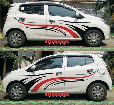 Daihatsu Ayla White - Custom Stripe Cutting Sticke...