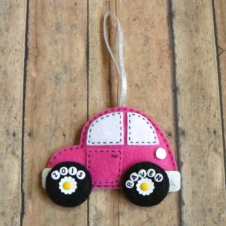 Personalized Felt Car Christmas Ornament by PaisleyMoose on Etsy https://www.etsy.com/listing/239976384/personalized-felt-car-christmas-ornament