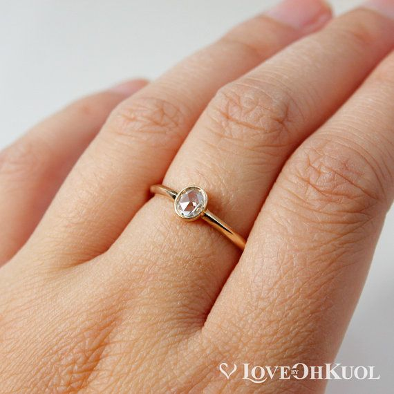 ON SALE Rose Cut Diamond Ring Oval Cut by lovebyohkuol on Etsy