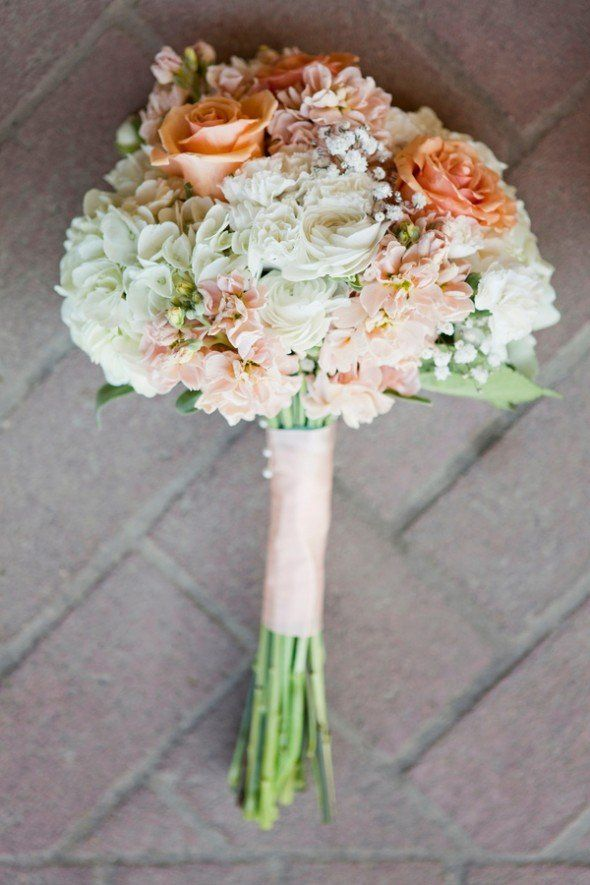 Mari's bouquet- less flowers (switch peach roses for baby breaths) Country Chic Wedding Bouquet