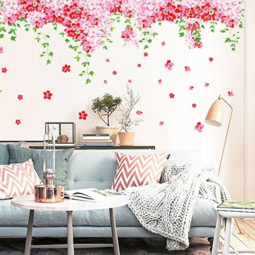 Wallpark Beautiful Red Cherry Blossoms Flowers Green Leaves Vines