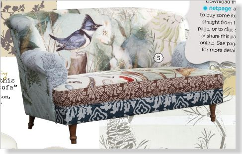 Susan Winget 'Patchwork' sofa. Clipped from Home Beautiful using Netpage.