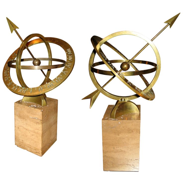 Pair of Sphere Sundials | From a unique collection of antique and modern more antique and vintage finds at https://www.1stdibs.com/furniture/more-furniture-collectibles/more-antique-vintage-finds/
