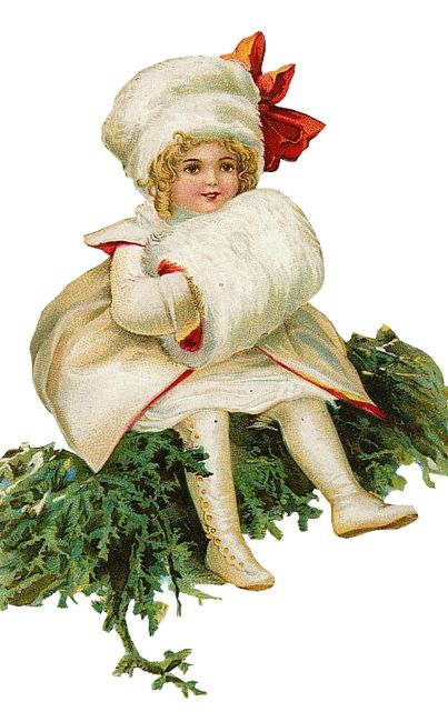 Victorian Die-cut Scrap of a Girl dressed in white, carrying a Muff, and sitting on a Christmas tree.