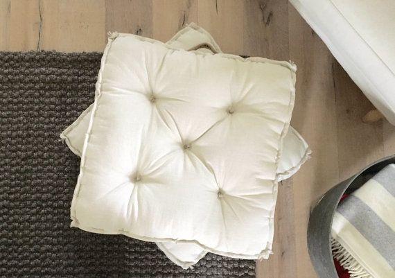 Farmhouse Linen Floor Cushion - Vintage Wash Linen - Tufted Cushion - French Mattress Floor ...