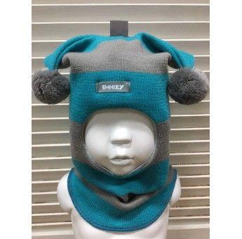 Детская зимняя шапка шлем Beezy 1406 (Бизи)  серая -бирюза