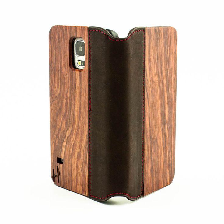 Houten flip case, Samsung Galaxy S5, palissander & bruin leer door HoentjenCreatie op Etsy