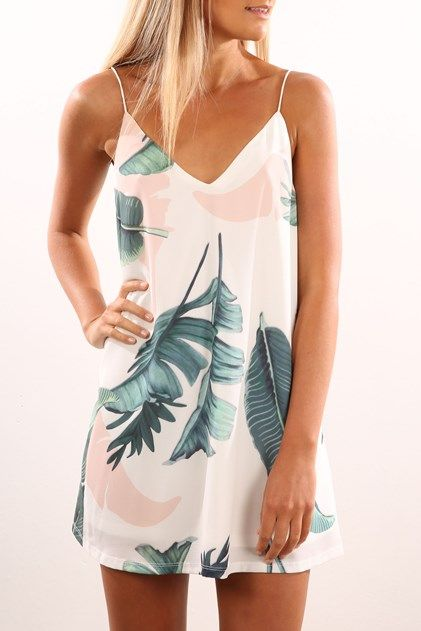 Tropical Palm Dress White