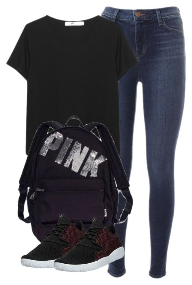 """277. Red Jordan Eclipse Shoes Outfit"" by kgarcia8427 ❤ liked on Polyvore featuring J Brand, Victoria's Secret and NIKE"