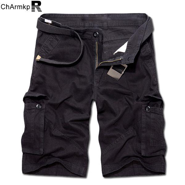 Charmkpr plus size 30-46 mens colore solido casuale del cotone grandi tasche pantaloncini militari loose cargo