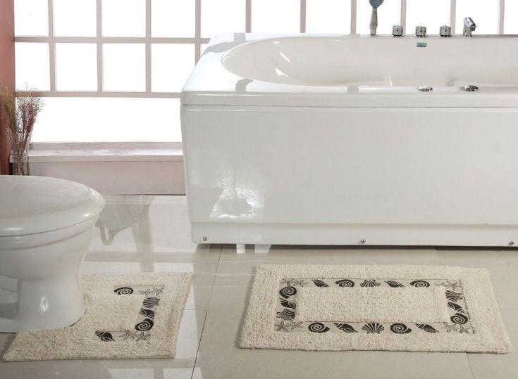 100-Cotton-Sea-Shell-2-pcs-Bath-Mat-set-Bath-amp-Pedestal-Mat-in-6-Colours