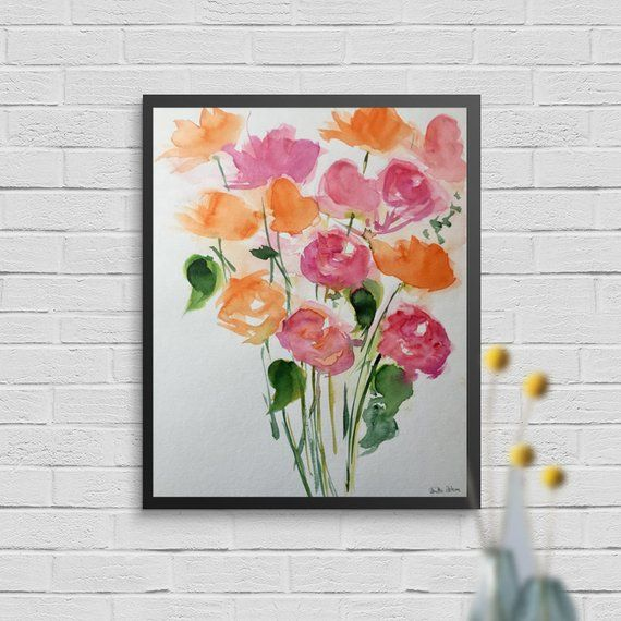 Original watercolor 11.8 x 15.7 inches (30 x 40 cm) abstract painting art flowers painting flowers meadow flowers