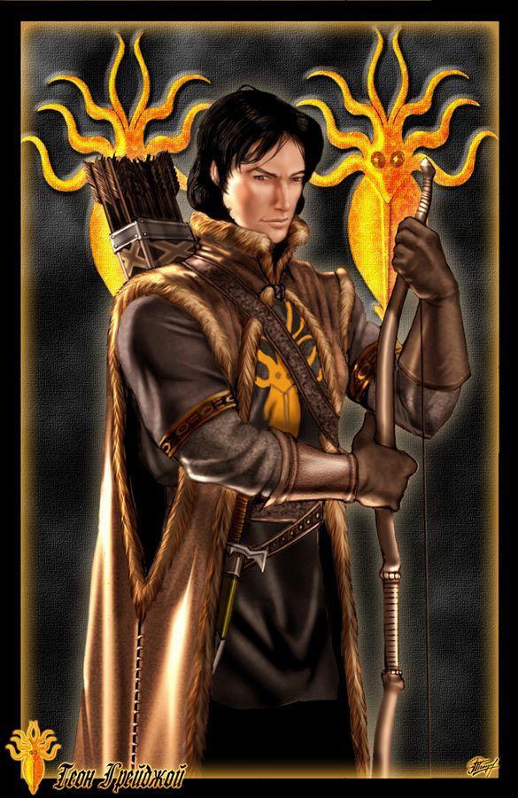 Theon Greyjoy - Era um jovem garoto de dez anos, quando aconteceu a rebelião de seu pai e dois de seus irmãos foram mortos, fazendo dele o herdeiro das Ilhas de Ferro. Theon foi levado como refém e protegido por Eddard Stark. Na época, ele tinha dez anos e viveu em Winterfell desde os nove anos com os filhos de Ned. Sua relação com os Stark sempre foi respeitosa e ele considerava Robb Stark como seu irmão mais novo, embora rivalizasse com Jon Snow. Theon também é um excelente arqueiro.