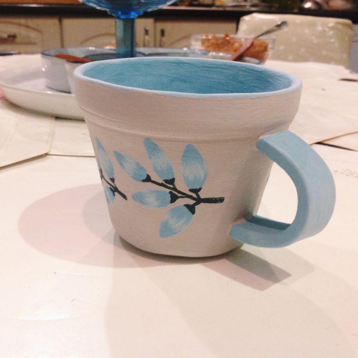 Чашка ручной работы! В стиле акварель, небрежные акценты и переходы теней, цветочный орнамент