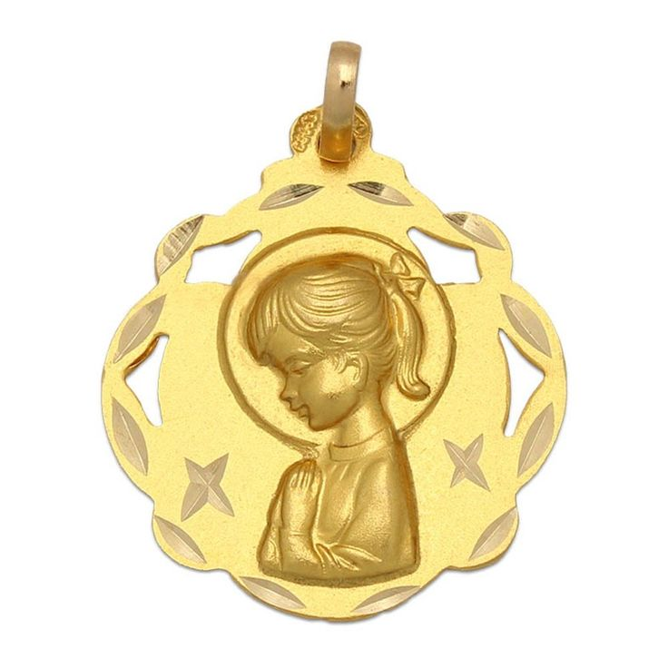 #Medalla Virgen Niña de Oro de 18 Kl. 20 x 23 Mm. : Joyeria online | joyeria plata | joyeria de plata Medalla de la Virgen Niña, está realizada en Oro de 18 Kl. con borde calado y forma redonda. Sin duda una joya especial ideal para hacer un regalo único a una niña que vaya a tomar su Primera Comunión, además será un recuerdo para toda la vida.   ¡Decídete ahora y podrás tener esta especial Medalla para Comunión Virgen Niña en Oro de 18 Kl. calada!  Medidas: 20 x 23 Mm.