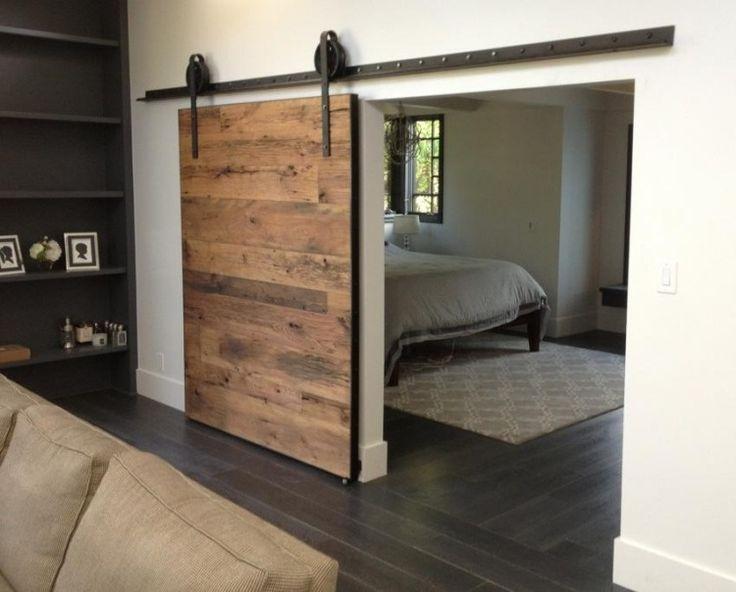 porte coulissante grange 35 id es pour la chambre rustique. Black Bedroom Furniture Sets. Home Design Ideas