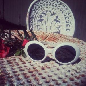 "Vintage white ""Jackie O"" style sunglasses <3"