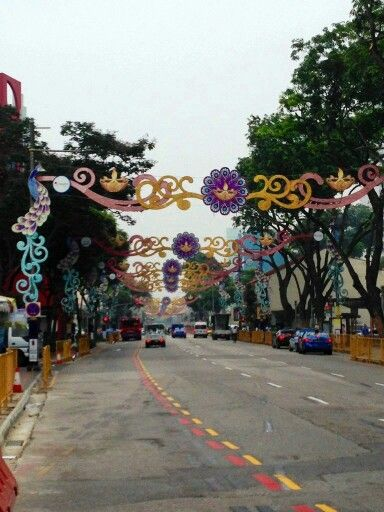 Serangoon Road decorated for Deepawali.