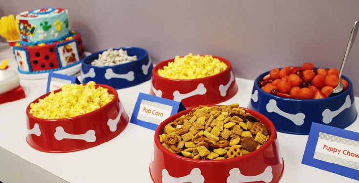 Puppy Perfect Paw Patrol Party!! - Crowning Details I love the dog bowl serving dishes!
