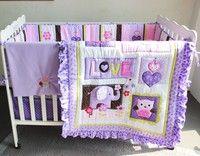 Wish | 7PCS Purple baby bedding set baby crib bedding sets nursery bedding ,(bumper+duvet+bed cover+bed skirt)