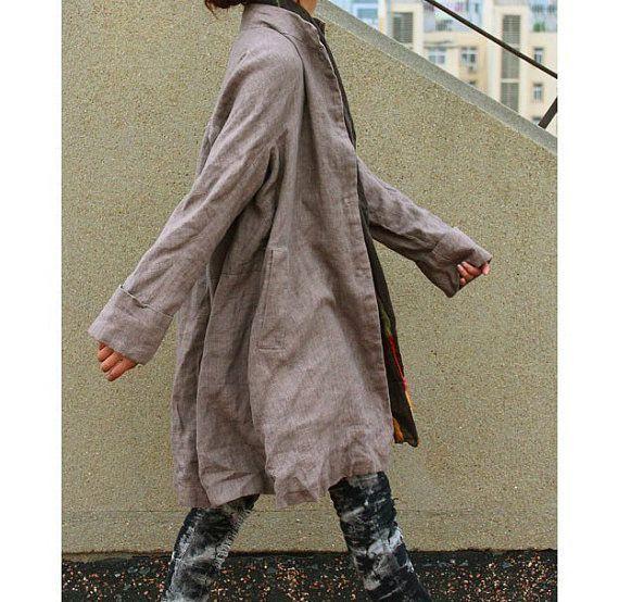 Free Style Pleated Linen Long Jacekt/ Cape/ Heather  by Ramies, $89.00 In Navy, please Santa!
