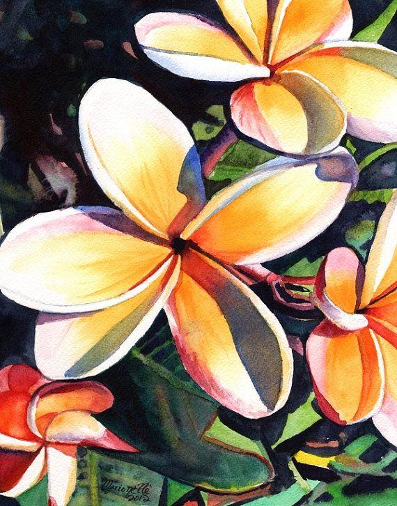 Kauai Rainbow Plumeria stampa da orange Kauai Hawaii giallo 8x10