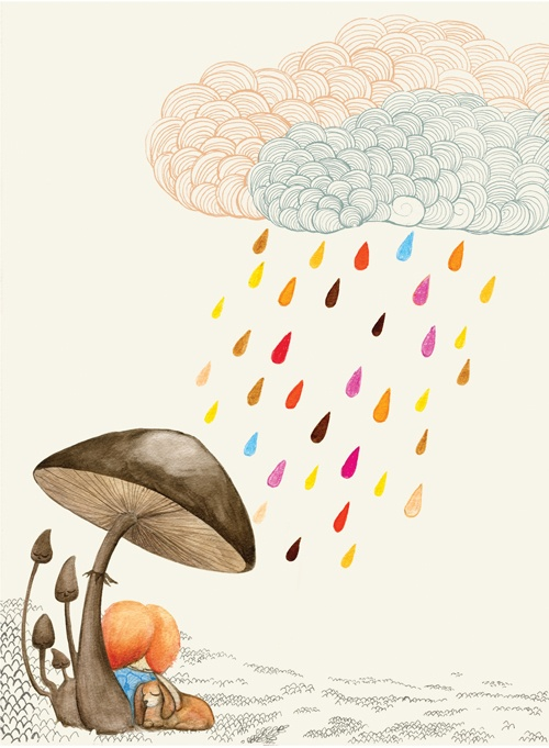 mushrooms + clouds print