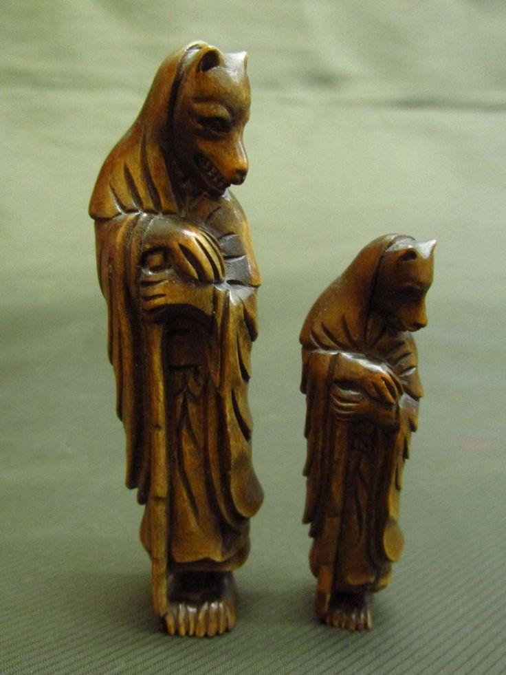 2 Japanese Boxwood Carved Fox Priest Netsuke Statue