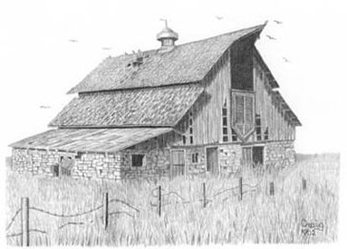 drawing old barns | Old Prairie Barn Pencil Sketch | OnlineCoolGifts.com