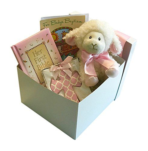 Baptism Gift Set For Baby Girl With Aurora Lamb Bible Cross Card