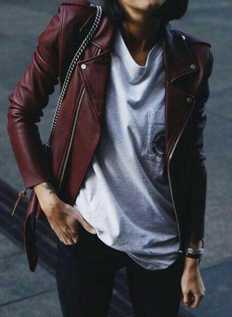 Redish leather jacket, slim fit.