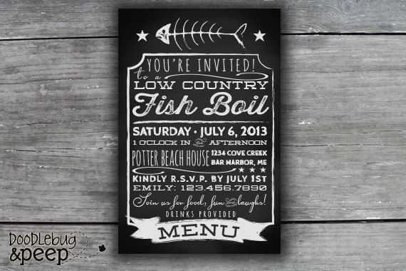 Chalkboard Menu  Low Country Fish Boil by doodlebugandpeep on Etsy,