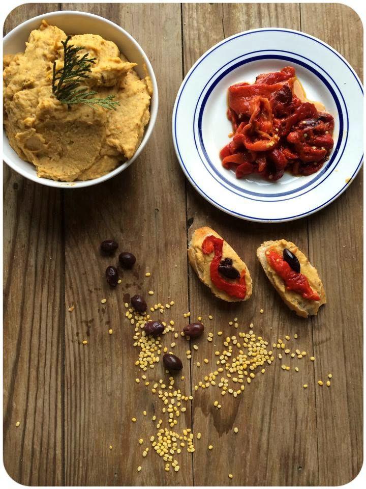 Hummus de lentejas amarillas con calabaza {Vegana}