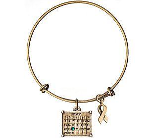 Brasstone Personalized Calendar & Awareness Ribbon Bracelet