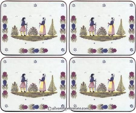 blue and white French coasters - Google Search