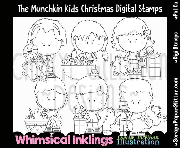 Munchkins Love Christmas Digital Stamps, Black & White Image, Graphic, Commercial Use, Instant Download, Line Art, Stockings, Cookies, Candy by ResellerClipArt on Etsy