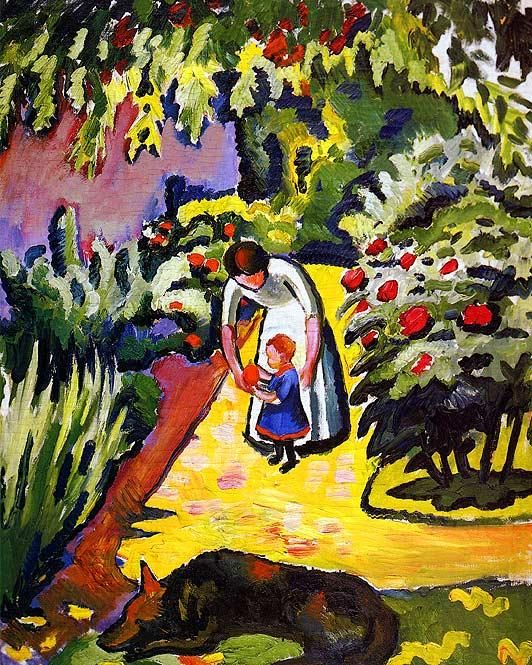 August Macke( 1887 – 1914) was one of the leading members of the German Expressionist group Der Blaue Reiter (The Blue Rider). , In the Garden
