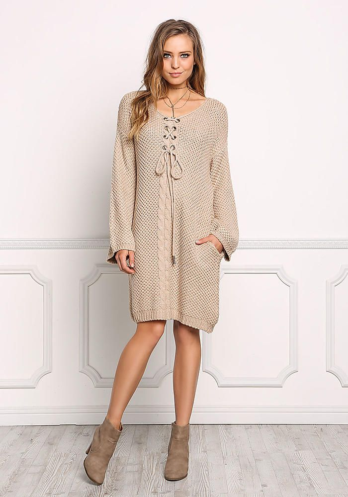 Taupe Chunky Knit Lace Up Pocket Sweater Dress - New