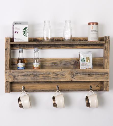 Reclaimed Wood Tea & Coffee Mug Shelf by Del Hutson on Scoutmob Shoppe
