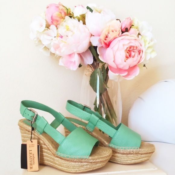 Zara leather mint wedge New with tags ! Zara Shoes Wedges