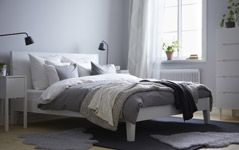Bedroom Furniture - Beds, Mattresses & Inspiration - IKEA... like the bedding but with a dark blue accent wall