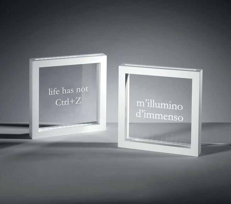Pannelli led LIFE-ILLUMINO     pannelli led 'life' e 'illumino' con cornice in mdf laccato bianco, serigrafia e alimentazione con trasformatore e adattatore usb  colore: bianco  dimensioni: 23x23